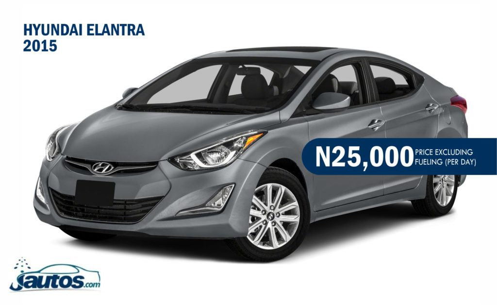 Hyundai Elantra 2015- N25,000 (AMOUNT PER DAY WITHOUT FUELING)