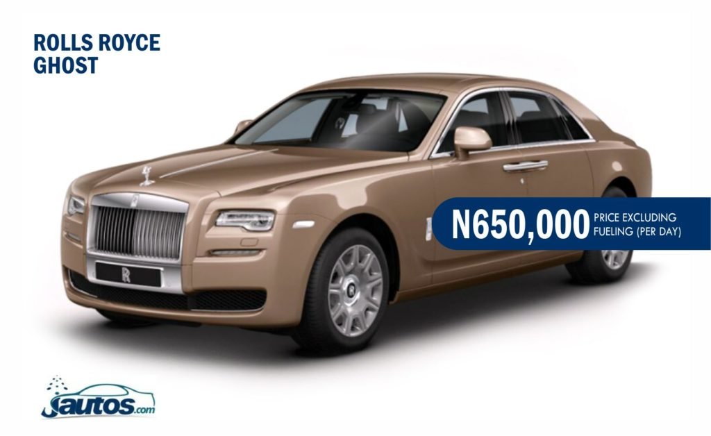 ROLLS ROYCE GHOST- N650,000 (AMOUNT PER DAY WITHOUT FUELING)