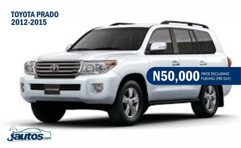 TOYOTA PRADO 2012-2015- N50,000 (AMOUNT PER DAY WITHOUT FUELING)