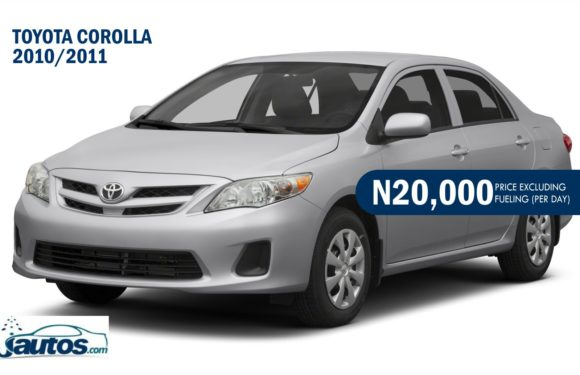 Toyota Corolla 2010/2011- N20,000 (AMOUNT PER DAY WITHOUT FUELING